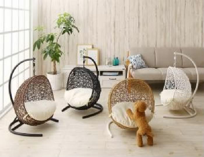 その他 マットレス付き セット ペットにぴったり ミニチュアサイズのラタン調ハンギングチェア (イス 椅子) ベッド( フレーム色 : ブラウン 茶 ):夢の小屋