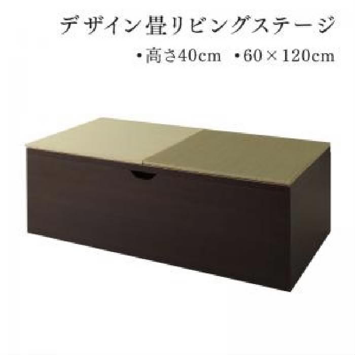 リビング収納 整理 用畳ボックス収納 単品 日本製 国産 収納 付きデザイン畳リビングステージ( 収納幅 :120cm)( 収納高さ :40cm)( 収納奥行 :60cm)( 収納色 : ダークブラウン 茶 )( 畳色 : グリーン 緑 )( 60×120cm ハイタイプ )