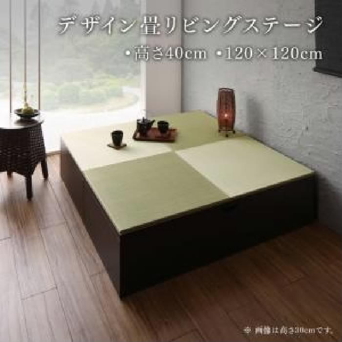 単品 日本製 収納付きデザイン畳リビングステージ 用 畳ボックス収納 120×120cm ハイタイプ (収納幅 120cm)(収納高さ 40cm)(収納奥行 120cm)(収納カラー ダークブラウン)(畳カラー グリーン) グリーン 緑 ブラウン 茶
