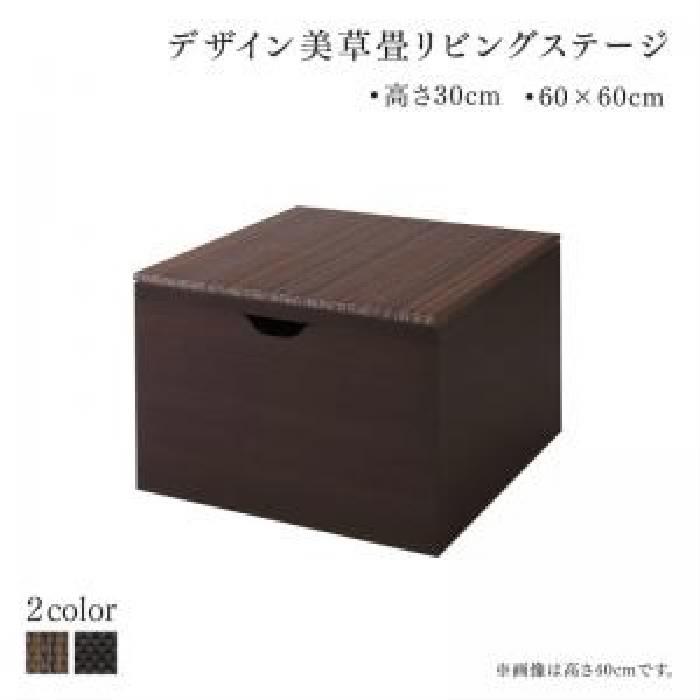単品 国産 収納付きデザイン美草畳リビングステージ 用 畳ボックス収納 60×60cm ロータイプ (収納幅 60cm)(収納高さ 30cm)(収納奥行 60cm)(収納カラー ダークブラウン)(畳カラー ブラック) ブラック 黒 ブラウン 茶