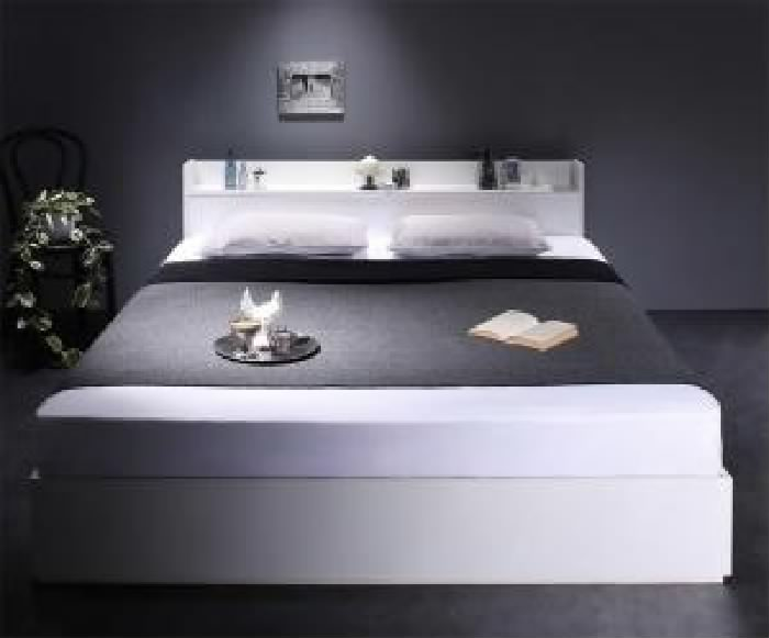 クイーンサイズベッド棚付マットレス付きホワイト白