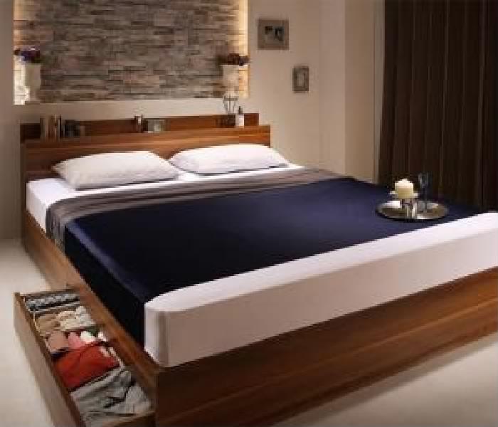 寝具色 フレーム色 棚・コンセント付収納 セット : 黒 プレミアムポケットコイルマットレス付き ウォルナットブラウン 整理 : 収納 ブラック 茶 :クイーン)( 幅 茶 )( 付きベッド ベッド( クイーンサイズベッド ) 黒