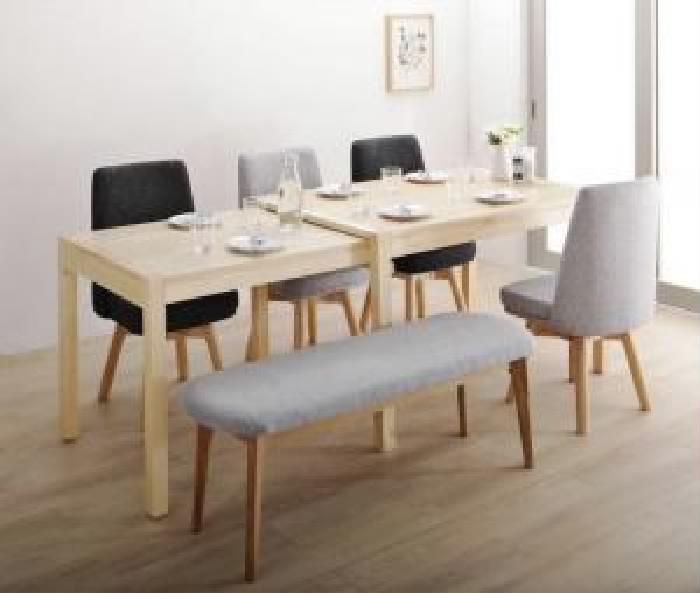 機能系チェア (イス 椅子) ダイニング 6点セット(テーブル+チェア 4脚+ベンチ1脚) 回転イス付き 北欧スライド伸縮ダイニングテーブル ダイニング用テーブル 食卓テーブル 机 ( 机幅 :W120-200)( イス座面色 : ミックス )