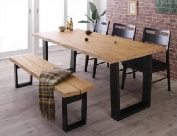 ダイニング 5点セット(テーブル+チェア (イス 椅子) 3脚+ベンチ1脚) 天然木 木製 無垢材ヴィンテージ レトロ アンティーク デザインダイニング( 机幅 :W180)( 机色 : ライトブラウン 茶 )( ベンチ3P )