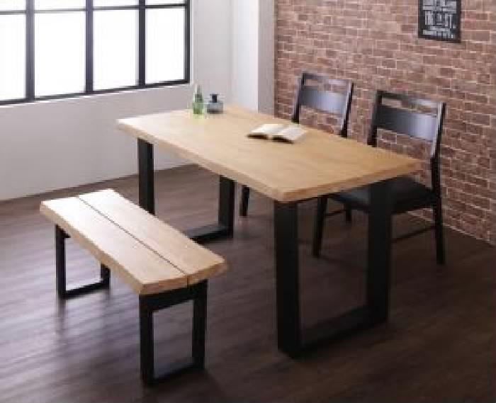 ダイニング 4点セット(テーブル+チェア (イス 椅子) 2脚+ベンチ1脚) 天然木 木製 無垢材ヴィンテージ レトロ アンティーク デザインダイニング( 机幅 :W140)( 机色 : ライトブラウン 茶 )( ベンチ2P )