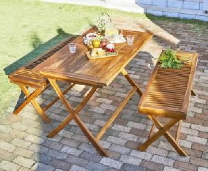ガーデンファニチャーダイニング 3点セット(テーブル+ベンチ2脚) チーク天然木 木製 折りたたみ式ベンチタイプガーデンファニチャー( 机幅 :W120)( 机色 : チークナチュラル )