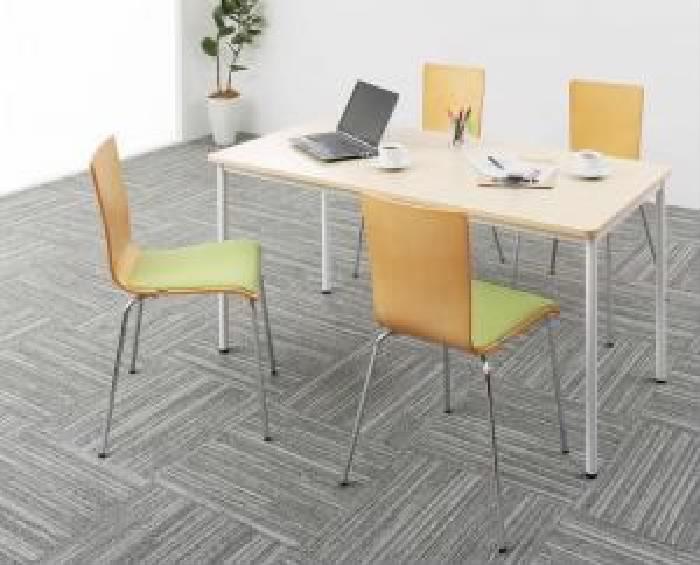 その他 5点セット(テーブル+チェア (イス 椅子) 4脚) 多彩な組み合わせに対応できる 多目的オフィス 事務用 ワークテーブル( 机幅 :W140)( 机色 : ダークブラウン 茶 )( イス座面色 : オレンジ )