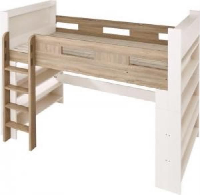 シングルベッド 白 システムベッド用ベッドフレームのみ 単品 棚・コンセント付きシステムロフトベッド( 幅 :シングル)( フレーム色 : オークナチュラル×ホワイト 白 )( 組立設置付 )