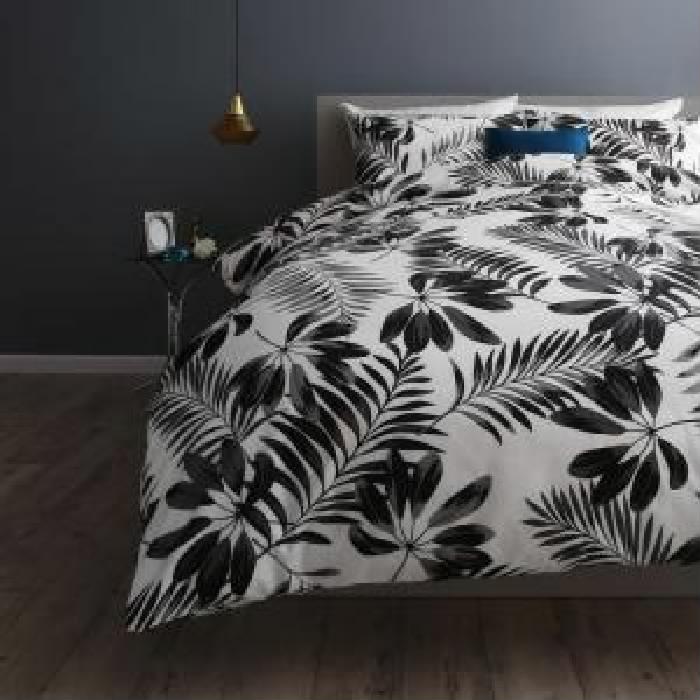 布団カバーセット 日本製 国産 ・綿100% エレガントモダンリーフデザインカバーリング( 寝具幅 :ダブル4点セット)( 寝具色 : グレー )( ベッド用 50×70用 )