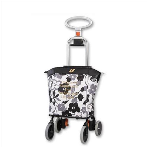 ショッピングカート アップライン UL-0218(花柄・ブラック)  【abt-1182237】【APIs】
