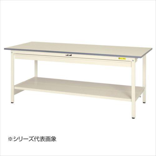 山金工業(YamaTec) SUP-1575WTT-WW ワークテーブル150シリーズ 固定式 ワイド引き出し付(H740mm) 1500×750mm (全面棚板付)  【abt-1413527】【APIs】