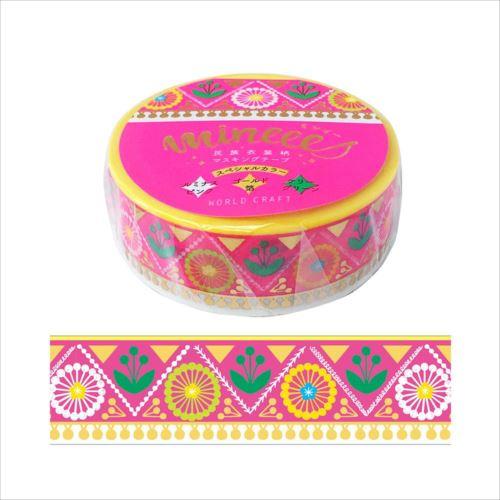 15mm幅のマスキングテープ。 ミンイー 民族衣装柄 マスキングテープ Blossom Pink 4個 MZMT15-007  【abt-1444568】【APIs】