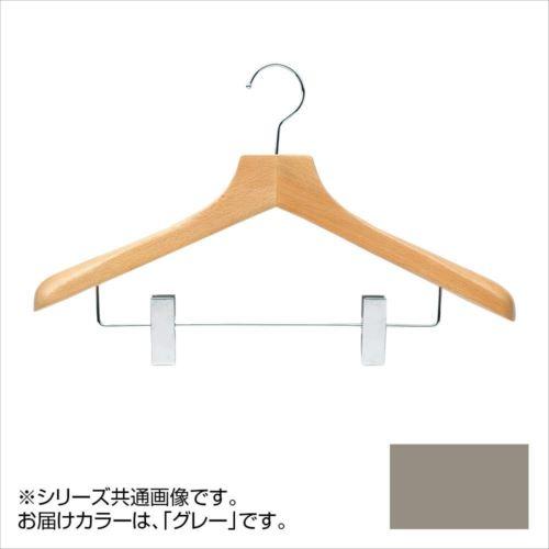 日本製 木製ハンガーメンズ用 T-5253 グレー 5本セット クリップ付 肩幅42cm×肩厚4cm  【abt-1453505】【APIs】