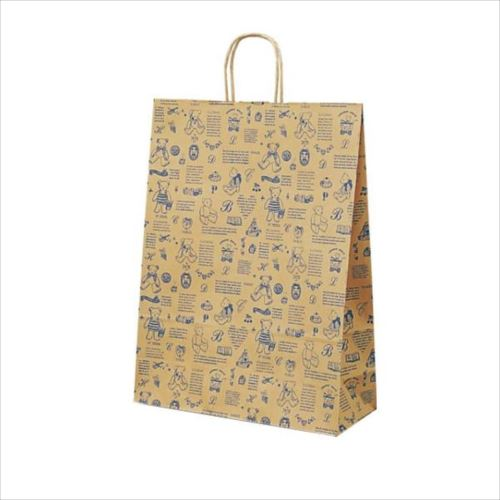 T-12 自動紐手提袋 紙袋 紙丸紐タイプ 380×145×500mm 200枚 ベアコレクション(ブルー) 1451  【abt-1423658】【APIs】