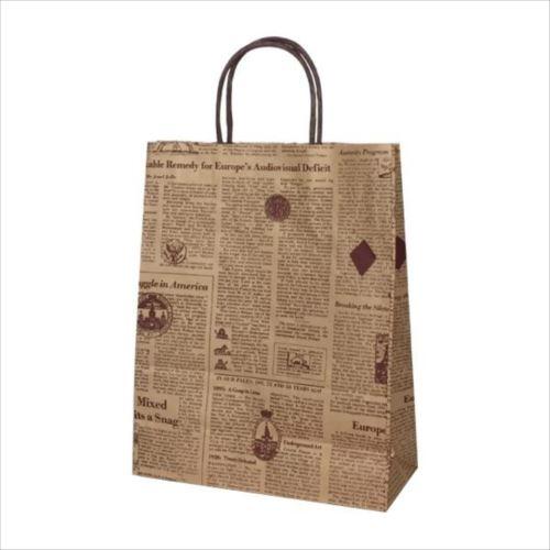 T-X 自動紐手提袋 紙袋 紙丸紐タイプ 260×110×330mm 200枚 リブル(ブラウン) 1563  【abt-1423552】【APIs】