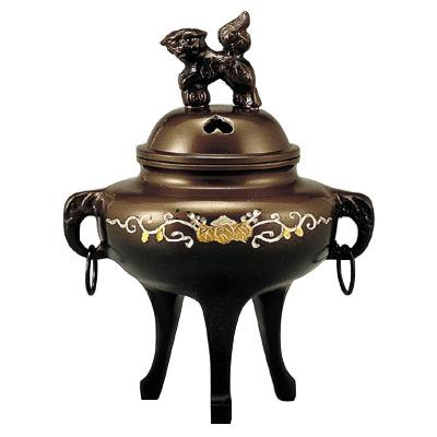 高岡銅器 銅製香炉 カン付象眼香炉 132-02  【abt-1422002】【APIs】