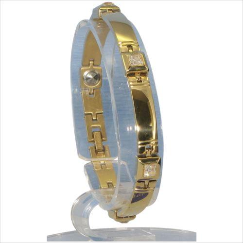 MARE(マーレ) スワロフスキー&ゲルマニウム5個付ブレスレット GOLD/IPミラー 114G M (18.7cm) H9271-08M  【abt-1143178】【APIs】