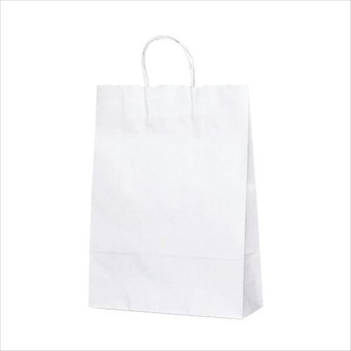 T-8 自動紐手提袋 紙袋 紙丸紐タイプ 320×110×430mm 200枚 白無地 1898  【abt-1423615】【APIs】