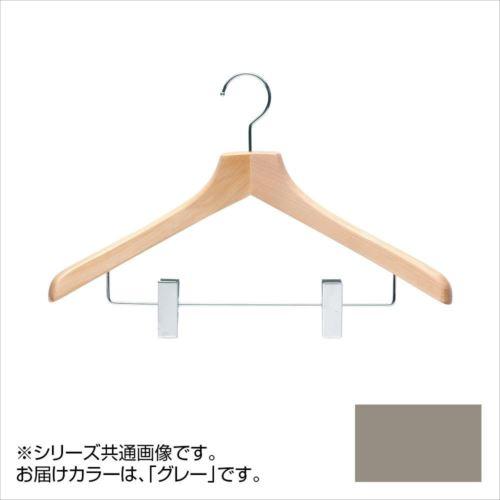 日本製 木製ハンガーメンズ用 T-5263 グレー 5本セット クリップ付 肩幅46cm×肩厚4.5cm  【abt-1453508】【APIs】