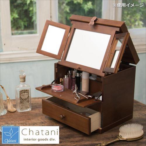 木目と落ち着いた色が美しいコスメ用の収納ボックス。 茶谷産業 Made in Japan 日本製 コスメティックボックス 三面鏡 020-108  【abt-1254674】【APIs】