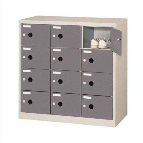 シューズロッカー 扉付・錠なしタイプ 棚板なし ダークグレー COM-SC-12P  【abt-1058875】【APIs】