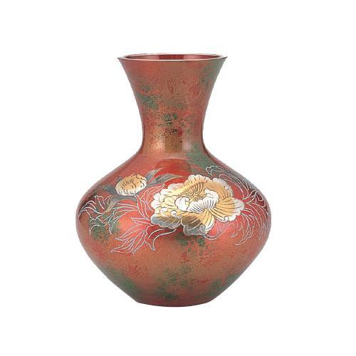 高岡銅器 銅製花瓶 山本秀峰作 富士形 牡丹 95-03  【abt-1421889】【APIs】