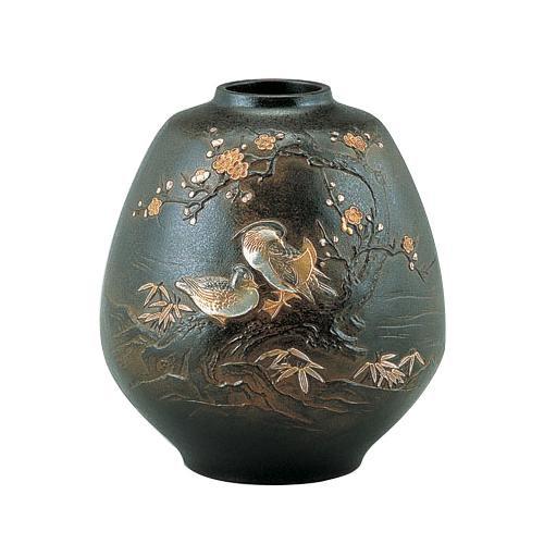 高岡銅器 銅製花瓶 おしどり 98-04  【abt-1421909】【APIs】