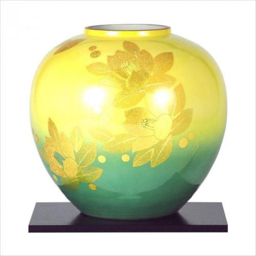 九谷焼 登陽志作 8号花瓶 金箔山茶花 N175-08  【abt-1526105】【APIs】