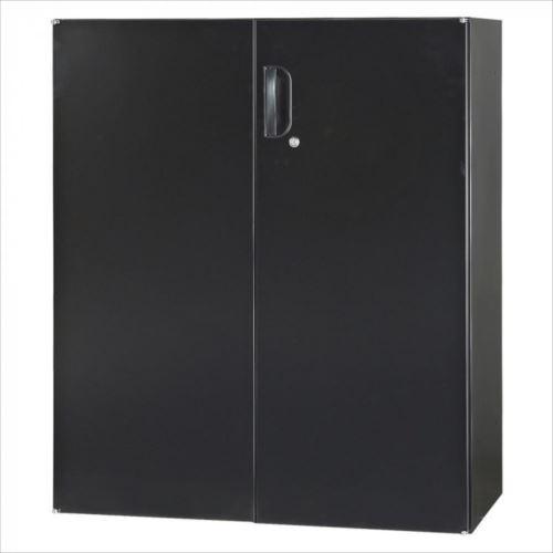 豊國工業 壁面収納庫深型両開きH1050(下置) ブラック HOS-HRDN-B CN-10色(ブラック)  【abt-1531463】【APIs】