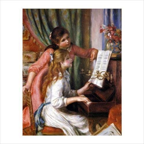 ピエール・オーギュスト・ルノワールの複製画です。 プリハード ピエール・オーギュスト・ルノワール ピアノに向かう二人の娘達 P10号 額縁C 5357  【yst-1480391】【APIs】