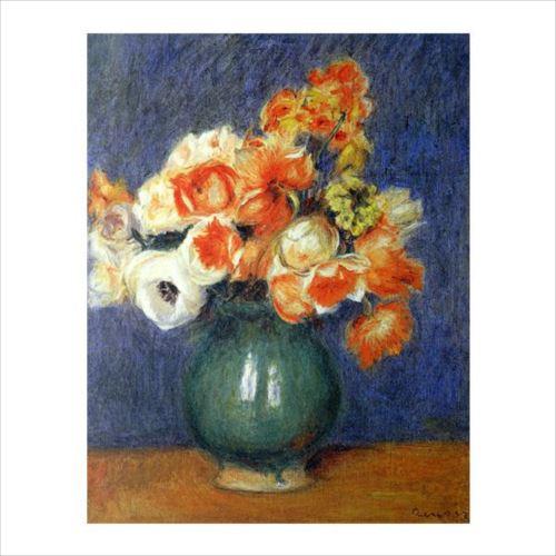 ピエール・オーギュスト・ルノワールの複製画です。 プリハード ピエール・オーギュスト・ルノワール 青い花瓶のアネモネ F6号 額縁A 3147  【yst-1480429】【APIs】