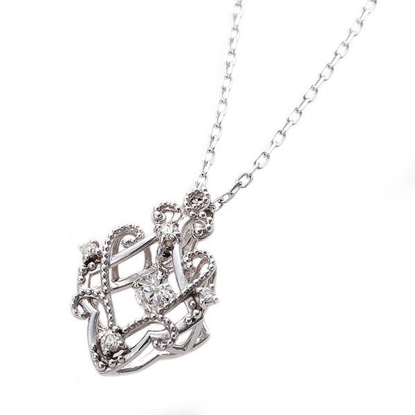 ダイヤモンド ネックレス 0.13ct K18 ホワイトゴールド アラベスク 花 フラワーモチーフ ペンダント 鑑別カード付き