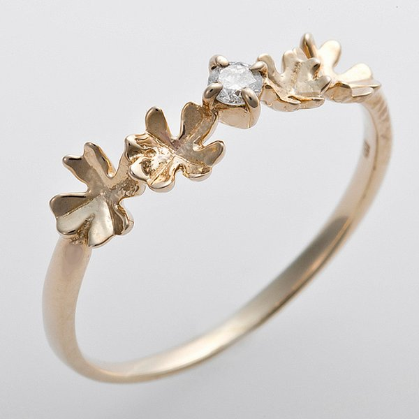 K10イエローゴールド 天然ダイヤリング 指輪 ダイヤ0.05ct 10号 アンティーク調 プリンセス フラワーモチーフ