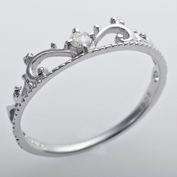 K10ホワイトゴールド 天然ダイヤリング 指輪 ダイヤ0.05ct 11.5号 アンティーク調 プリンセス ティアラモチーフ