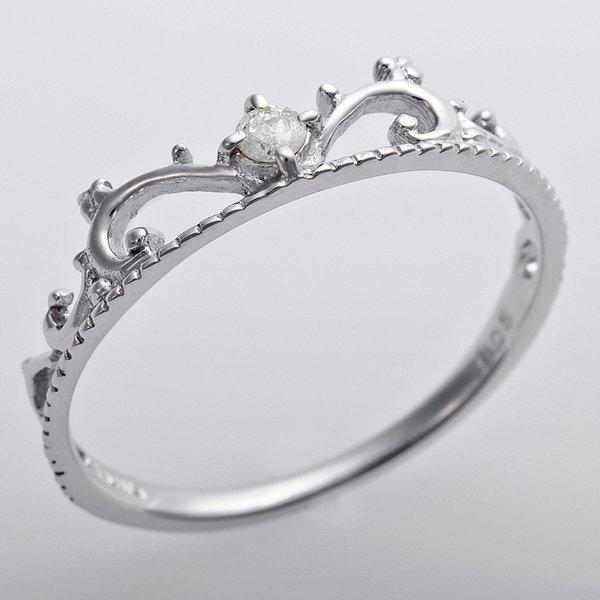 K10ホワイトゴールド 天然ダイヤリング 指輪 ダイヤ0.05ct 13号 アンティーク調 プリンセス ティアラモチーフ
