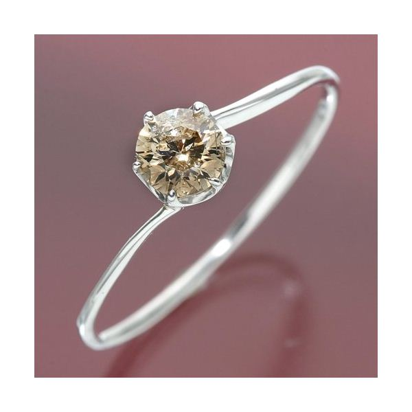 K18ホワイトゴールド 0.3ctシャンパンカラーダイヤリング 指輪 15号