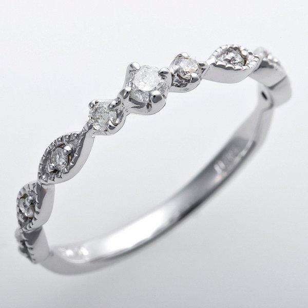 ダイヤモンド ピンキーリング K10ホワイトゴールド 2号 ダイヤ0.09ct アンティーク調 プリンセス