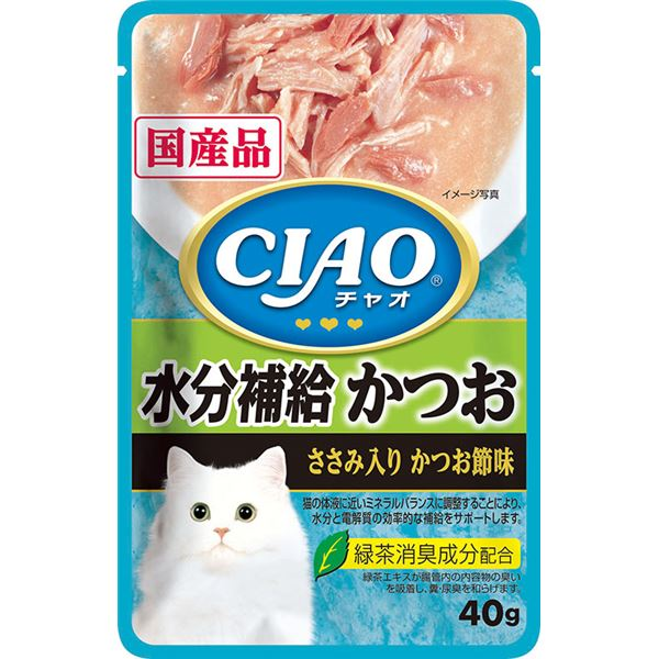 (まとめ)CIAO パウチ 水分補給 かつお ささみ入り かつお節味 40g (ペット用品・猫フード)【×96セット】