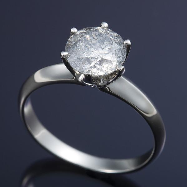 プラチナPt900 超大粒1.5ctダイヤリング 指輪 (鑑定書付き) 17号