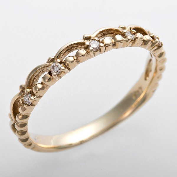 K10イエローゴールド 天然ダイヤリング 指輪 ピンキーリング ダイヤモンドリング 0.03ct 1.5号 アンティーク調 プリンセス ティアラモチーフ