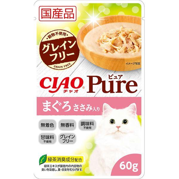 (まとめ)CIAO Pureパウチ まぐろ ささみ入り 60g (ペット用品・猫フード)【×96セット】