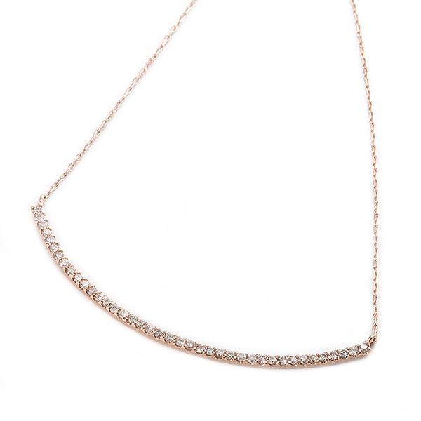 ダイヤモンド ネックレス K10 ピンクゴールド 0.2ct 40石 スマイリー ダイヤネックレス ペンダント