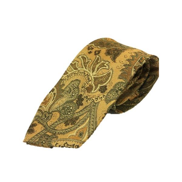 グランネクタイ 西陣手縫い仕立て シルク100%ネクタイ ペイズリー&ゴールド