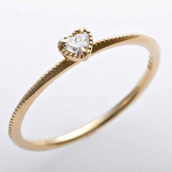 K10イエローゴールド 天然ダイヤリング 指輪 ダイヤ0.05ct 12.5号 アンティーク調 プリンセス ハートモチーフ