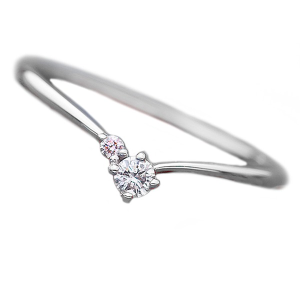 ダイヤモンド リング ダイヤ ピンクダイヤ 合計0.06ct 10号 プラチナ Pt950 V字モチーフ 指輪 ダイヤリング 鑑別カード付き