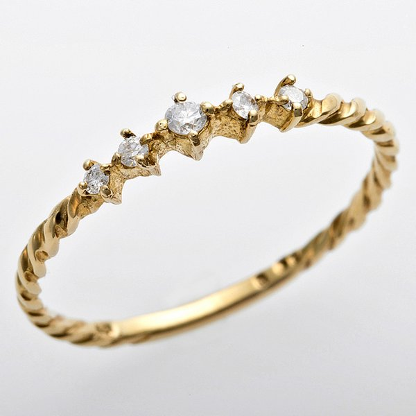 K10イエローゴールド 天然ダイヤリング 指輪 ダイヤ0.06ct 13号 アンティーク調 プリンセス