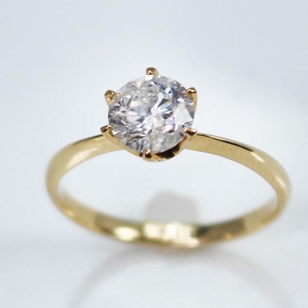 K18イエローゴールド 1.0ct一粒ダイヤリング 指輪 (鑑別書付き) 13号