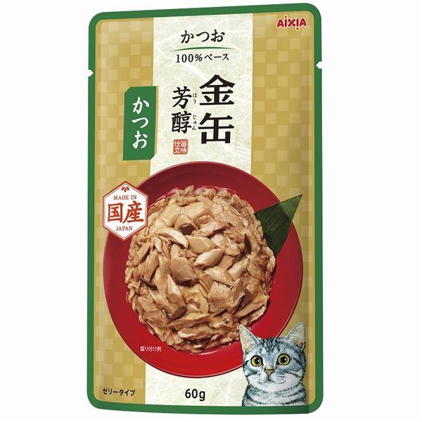 (まとめ)金缶芳醇パウチ かつお 60g【×96セット】【ペット用品・猫用フード】