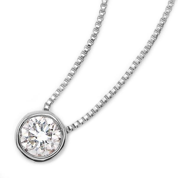 ダイヤモンド ネックレス 一粒 0.1ct K18 ホワイトゴールド ペンダント Nudie Heart(ヌーディーハート) 人気の覆輪留 ペンダント