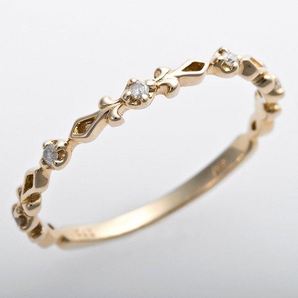 K10イエローゴールド 天然ダイヤリング 指輪 ピンキーリング ダイヤモンドリング 0.03ct 3.5号 アンティーク調 プリンセス